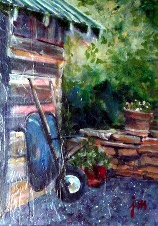 The Potting Shed rustic wheelbarrow resting by log shed, acrylic painting by Julie Mader Studio C32